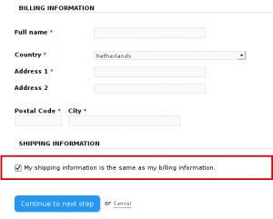 my billing information is the same as my shipping information