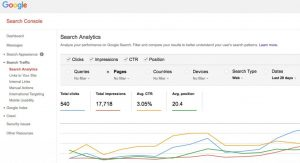 Google search console stats