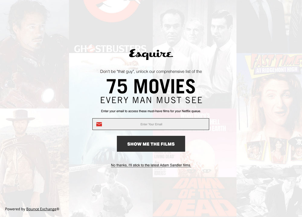 esquire 75 movies exit intent technology