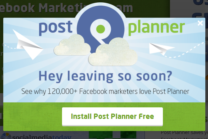 post planner social proof exit intent technology